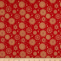 Fabtrends Cotton Poplin Snowflakes Red/Gold