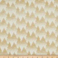 Fabtrends Cotton Poplin Christmas Tree Ecru/Gold