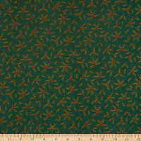Fabtrends Cotton Poplin Holly Leaves Green/Gold