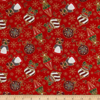 Fabtrends Cotton Poplin Christmas Ornaments Red/Gold