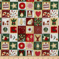 Fabtrends Cotton Poplin Advent Calendar Green/Gold
