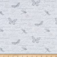 Northcott Orchids In Bloom Script & Butterfly Toile White Gray