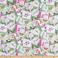 Ferns and Butterflies Orchids in Bloom Collection White Cotton Fabric by Northcott Fabrics