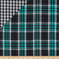 Double Face Plaid Cotton Gauze Charcoal/Lime