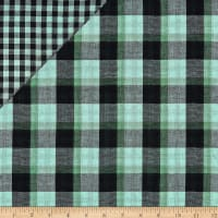 Double Face Charlie Plaid Cotton Gauze Lime/Black