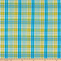Cotton Lawn Plaid Turquoise