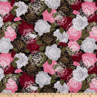 ITY Stretch Knit Floral Pink/Black Multi