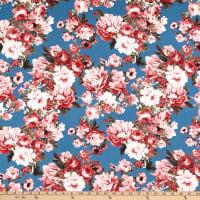ITY Stretch Knit Abstract/Geometric Roses Blue/Pink