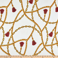 ITY Stretch Knit Abstract/Geometric Chain White/Yellow