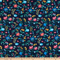 Bubble Crepe Floral Blue/Red/Yellow