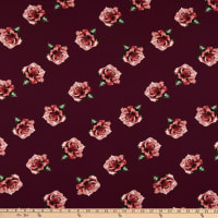 Bubble Crepe Floral Maroon/Rose