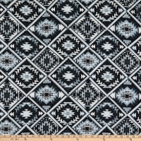 Bubble Crepe Abstract/Geometric Aztec Inspired Black Multi