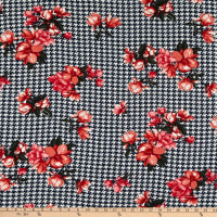 Bubble Crepe Houndstooth Floral Blue