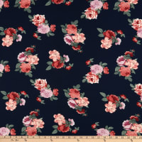 Bubble Crepe Floral Blue/Pink/Red