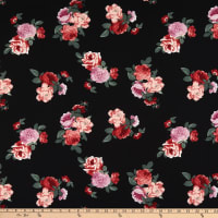 Bubble Crepe Floral Black/Pink/Red