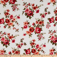 Bubble Crepe Floral White/Red
