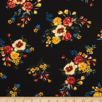 Bubble Crepe Floral Black/Yellow/Red