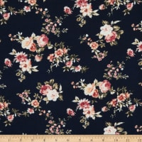 Bubble Crepe Small Floral Blue/White/Pink