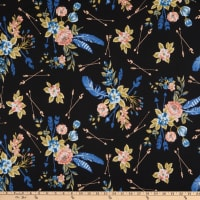 Double Brushed Stretch Jersey Knit Floral Black/Blue/Pink