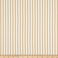 Brushed Stretch Jersey Knit Pin Stripes White/Mustard
