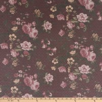 Mesh Stretch Knit Floral Maroon/Pink