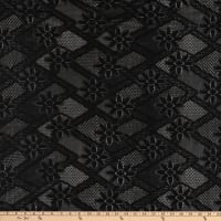 Crochet Lace Knit Diamonds Floral Black