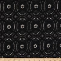Crochet Lace Woven Geometric Black