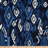Poly Rayon Stretch Jersey Knit Abstract Blue/White