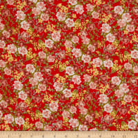 Crepe Georgette Floral Red/Green/Peach