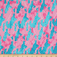 Crepe Georgette Abstract Pink/Aqua