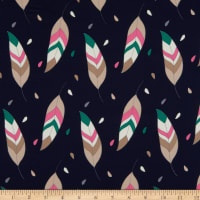 Crepe Georgette Feather Navy/Pink/Green