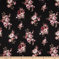 Rayon Stretch Jersey Knit Small Floral Black/Pink