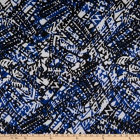 Stretch Hatchi Sweater Knit Abstract Blue/Black/White