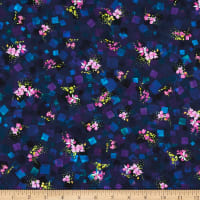 Kaufman Bright Side Flowers Midnight