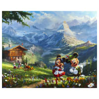 "Thomas Kinkade's Digital Disney Dreams Mickey And Minnie In The Alps 36"" Panel Multi"