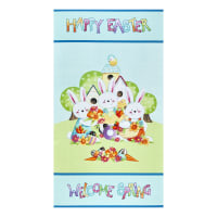 "Henry Glass Easter Fun Happy Easter 24"" Panel Aqua"