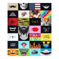 """Timeless Treasures Digital I'm Actually Smiling Assorted Novelty Face Mask 36"""" Panel Multi"""