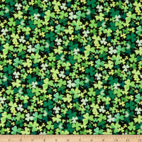 Timeless Treasures Lucky Guy Packed Clovers Black