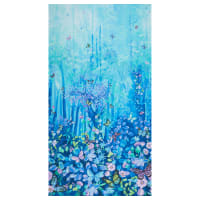 """Timeless Treasures Digital Forest Magic Butterfly Forest  24"""" Panel Blue"""