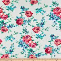 Fabric Merchants Rayon Challis Floral Ivory/Berry