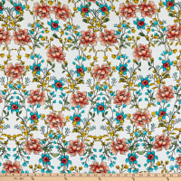 Fabric Merchants Rayon Challis Allover Floral Ivory/Coral
