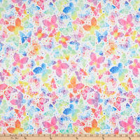 E.Z. Fabric Minky Large White Butterfly White