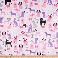 E.Z. Fabric Minky Playing Puppies Pink