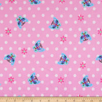 E.Z. Fabric Minky Butterfly Flowers Pink