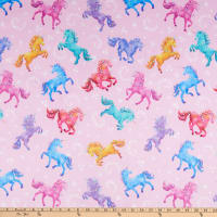 E.Z. Fabric Minky Trotting Unicorns Pink