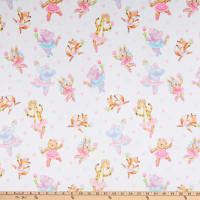 E.Z. Fabric Minky Ballerina Buddies White