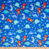 E.Z. Fabric Minky Dinosaur Jungle Blue