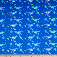 E.Z. Fabric Minky T-Rex Jungle Blue
