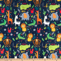 E.Z. Fabric Minky Animal Kingdom Blue