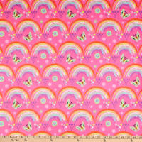 E.Z. Fabric Minky Under the Rainbow Pink